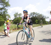A rider sweating it for the Hill Country Ride for AIDS