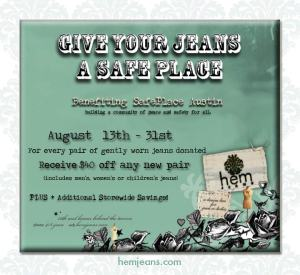Hem's Jeans for SafePlace event